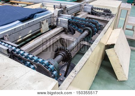 The Conveyor chain drive shaft in factory.