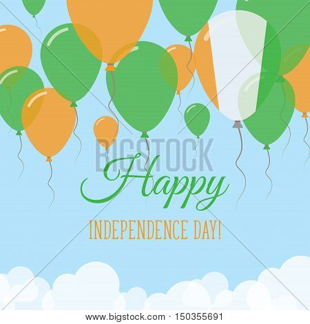 Cote D'ivoire Independence Day Flat Greeting Card. Flying Rubber Balloons In Colors Of The Ivorian F