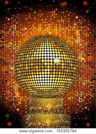 Golden Disco Ball on a Sparkling Stand Over Glowing Golden Tiles Background