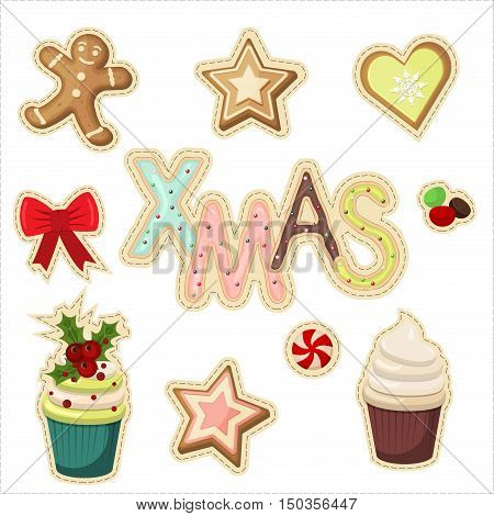 set of christmas stickers vector. Winter symbol cute cartoon merry christmas stickers set. Holiday christmas stickers greeting sweets and cookies labelel ement. Icons set of Xmas and winter holidays.