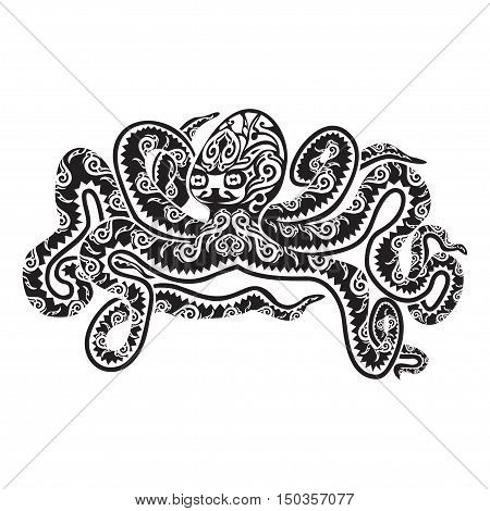 Octopus tattoo in Maori style. Vector illustration EPS10