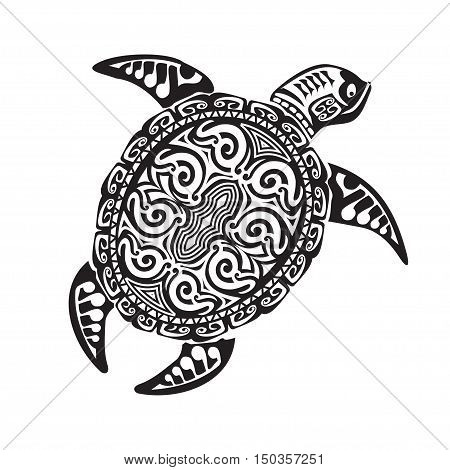 Turtle tattoo in Maori style. Vector illustration EPS10