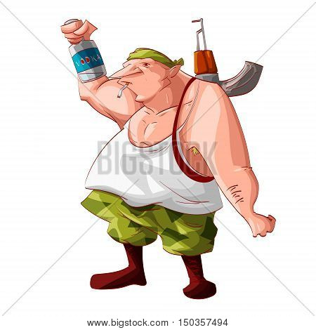 Colorful vector illustration of a cartoon drunk rebel / separatist guerilla fighter. Wearing a bandana white tank cammo pants boots. Smoking a cigarette automatic asault rifle on his shoulder and holding a vodka bottle.