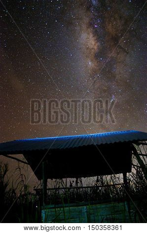 Scenery of milkyway at Sangkir Village,Kota Belud,Sabah,Borneo Image contains visible noise due to high ISO, soft focus, shallow DOF, slight motion blur.