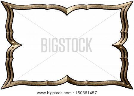 Simple decorative frame from bronze. Decorative borders.