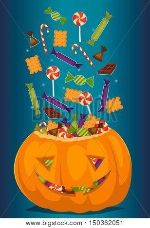 Halloween pumpkin full of candy treats. Cartoon pumpkin. Symbol of halloween design concept. Halloween vector elements. Beggars Night october holiday. All Hallows Evening. Halloween concept. Funny scary halloween pumpkin. poster