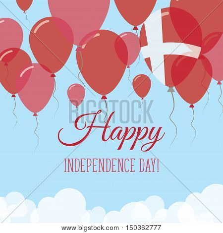 Denmark Independence Day Flat Greeting Card. Flying Rubber Balloons In Colors Of The Danish Flag. Ha