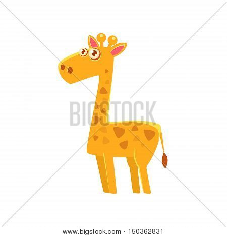 Giraffe Toy Exotic Animal Drawing. Silly Childish Illustration Isolated On White Background. Funny Animal Colorful Vector Sticker.