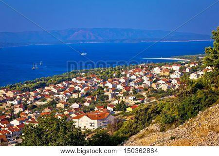 Bol and Zlatni Rat beach aerial view island of Brac Croatia