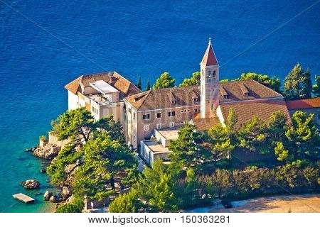 Bol church and monastery on Brac coast aerial view Dalmatia Croatia