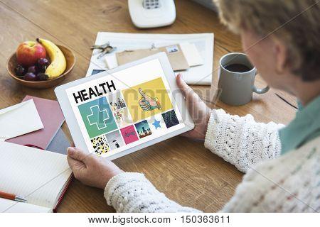 Health Wellness Digital Tablet Concept