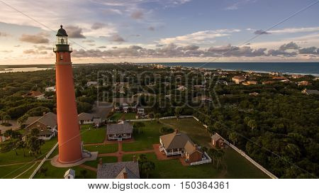 Aerial view of lighthouse during sunset in Daytona Beach, Florida