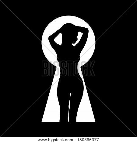 Silhouette of a beautiful naked girl. Peeped through the keyhole. Black and white vector illustration.