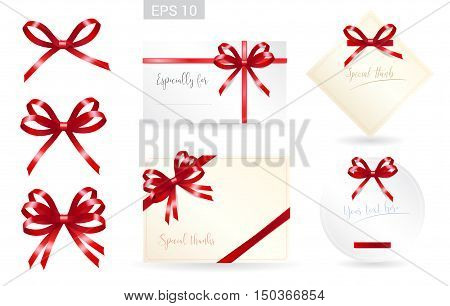 Set of ribbon tied bows in vector format for gift card greeting card or thank you card