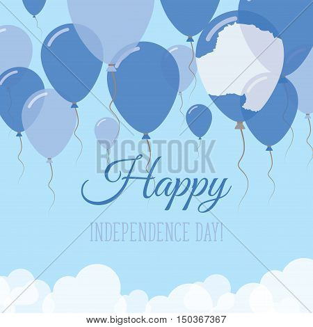 Antarctica Independence Day Flat Greeting Card. Flying Rubber Balloons In Colors Of The Antarctica F