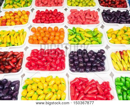 Fruits-Traditional Thai Dessert made from nut and jelly.