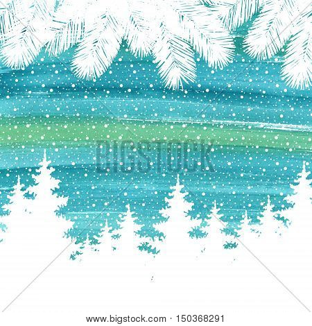 Christmas and Happy New Year greeting card. Hand drawn watercolor winter holidays landscape background with trees snowflakes falling snow.
