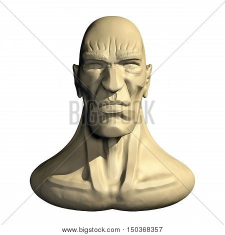 Male three dimensional human head. 3d cartoon model of artificial head. Front view.