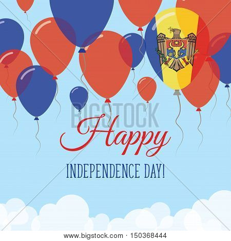 Moldova, Republic Of Independence Day Flat Greeting Card. Flying Rubber Balloons In Colors Of The Mo