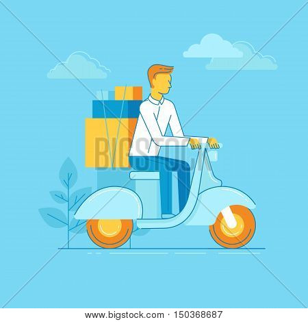 Vector Illustration - Man Riding Motorbike
