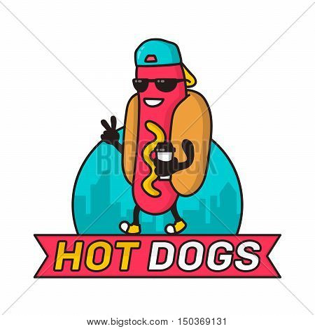 Cool guy hot dog in city with coffee paper cup character line colorful vector illustration. logo template design badge for fast food street food hot-dogs restaurant. Isolated on white background