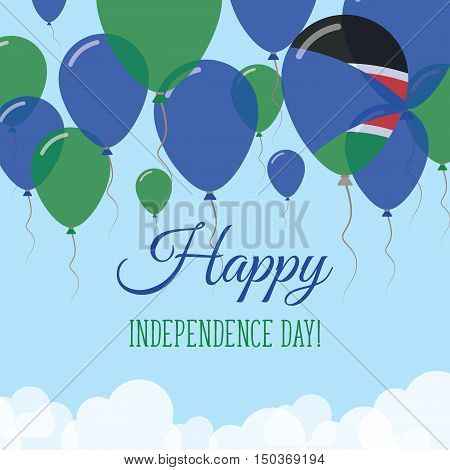 South Sudan Independence Day Flat Greeting Card. Flying Rubber Balloons In Colors Of The South Sudan