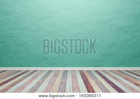 Empty interior light green room with wooden floor For display of your products. - 3D rendering