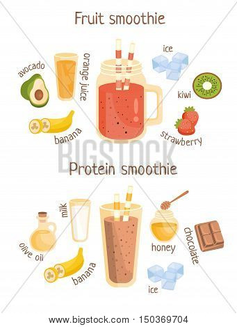 Fruit And Protein Smoothies Infographic Recipe Poster. Colorful Childish Cartoon Style Illustration On Breakfast Food Recipe.
