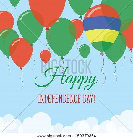 Mauritius Independence Day Flat Greeting Card. Flying Rubber Balloons In Colors Of The Mauritian Fla
