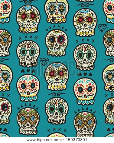 The seamless pattern of Day of the Dead, a traditional holiday in Mexico. Skulls in folk style.