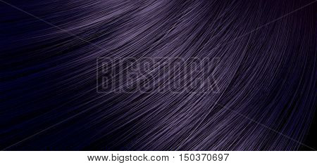 A 3D render of a closeup view of a bunch of shiny straight dark purple hair in a wavy curved style