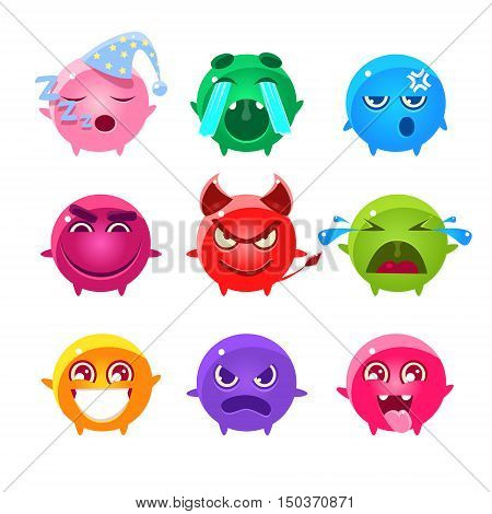 Round Characters Of Different Colors Emoji Set.Cute Emoticons In Cartoon Childish Style Isolated On White Background.
