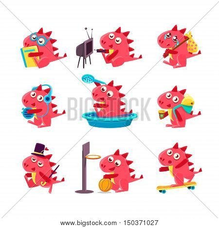 Red Dragon Everyday Business. Set Of Silly Childish Drawings Isolated On White Background. Funny Fantastic Animal Colorful Vector Stickers Set.