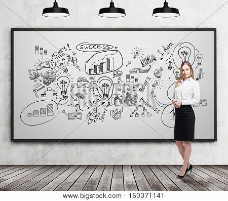 Smiling blond businesswoman standing near whiteboard with business ideas on it. Concept of creativity in business