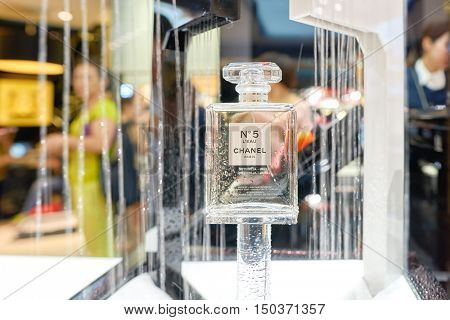 HONG KONG - SEPTEMBER 02, 2016: close up shot of Chanel No. 5 in a store. Chanel No. 5 is the first perfume launched by French couturier Gabrielle