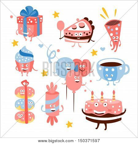 Child Birthday Party Sweets And Attributes. Girly Colors Stylized Smiling Characters With Celebration Decorations. Flat Vector Stickers On White Background.