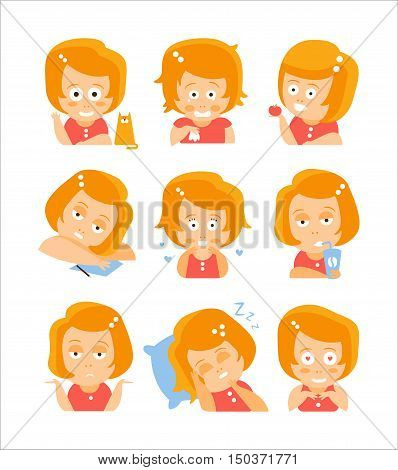 Little Red Head Girl Cute Portrait Icons. Cartoon Character Emoji Set In Simple Childish Bright Color Drawings Isolated On White Background.