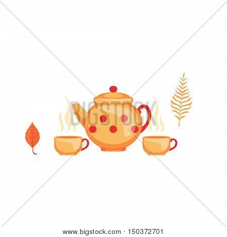 Kettle And Twoo Cups Of Tea As Autumn Attribute. Seasonal Symbol In Cute Detailed Cartoon Style On White Background.
