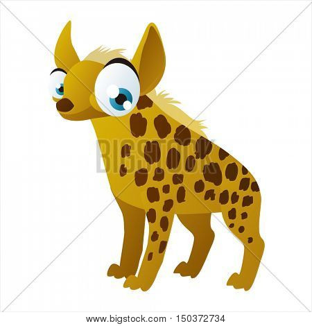 vector cute isolated animal character illustration. Funny Hyena