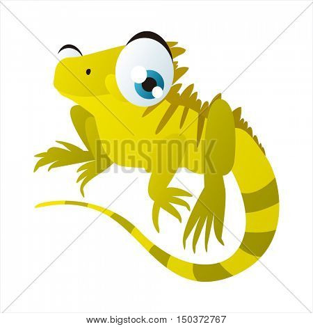 vector cute isolated animal character illustration. Funny Iguana