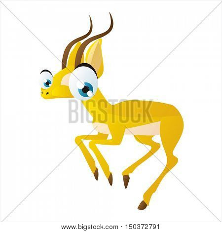 vector cute isolated animal character illustration. Funny Gazelle