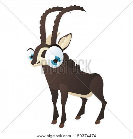 vector cute isolated animal character illustration. Funny Blackbuck Antelope