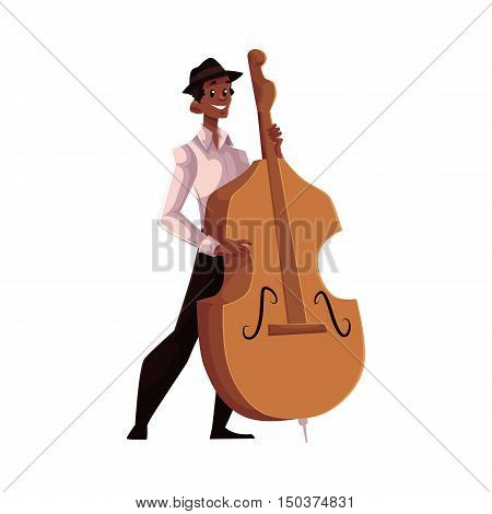 Young African American male contrabass player, cartoon vector illustration isolated on white background. Full height portrait of African man in white shirt and black hat playing double bass