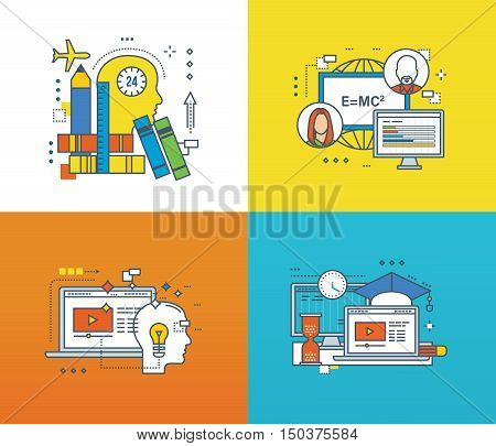 Concept of modern education and success in learning, online learning technology and the process of thinking, working and space for learning. Color Line icons collection.