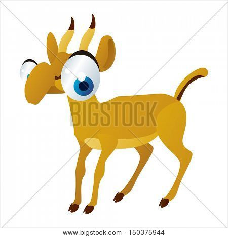 vector cute isolated animal character illustration. Funny Saiga Antelope