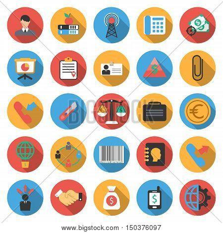 Business, Finance 25 flat icons set for web design