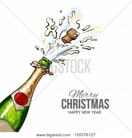 christmas greeting card with cork popping out of champagne bottle merry christmas and happy new