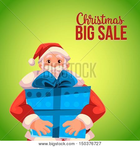Cartoon style Santa Claus holding a big box, Christmas vector sale banner, green background, text at the top. Half length portrait of Santa holding a large blue box, Christmas sale banner template