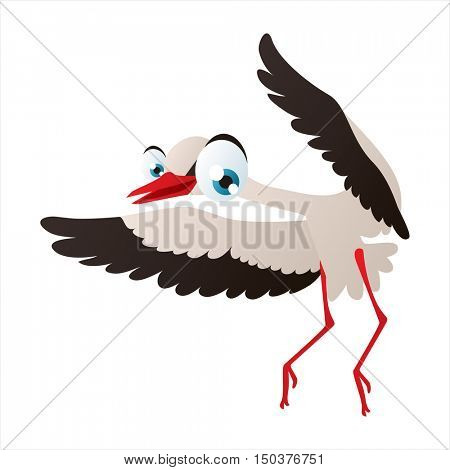 vector cute isolated animal character illustration. Bird. Funny Stork