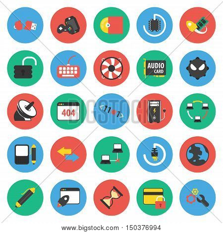 Computer, technology, pc 25 flat icons set for web design
